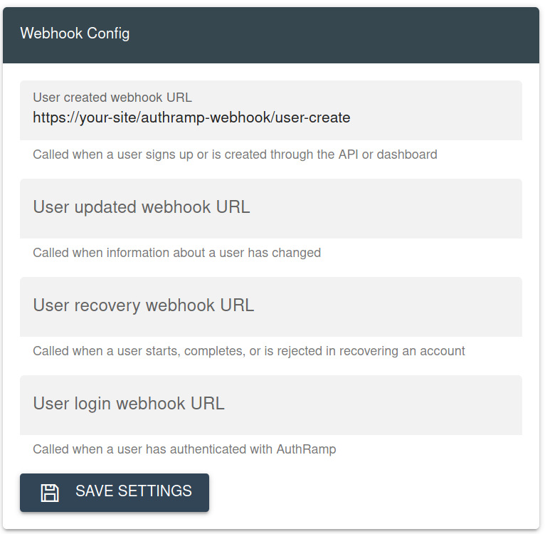 Webhook Configuration Section